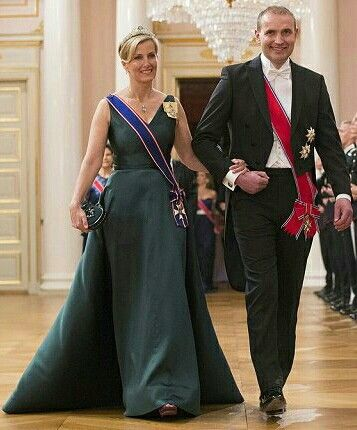 Sophie, The CountessOf Wessex Wore Her Aquamarine Necklace Tiara. The President Of Iceland,  Gudni Johannesson Is Her Escort. May 9, 2017.
