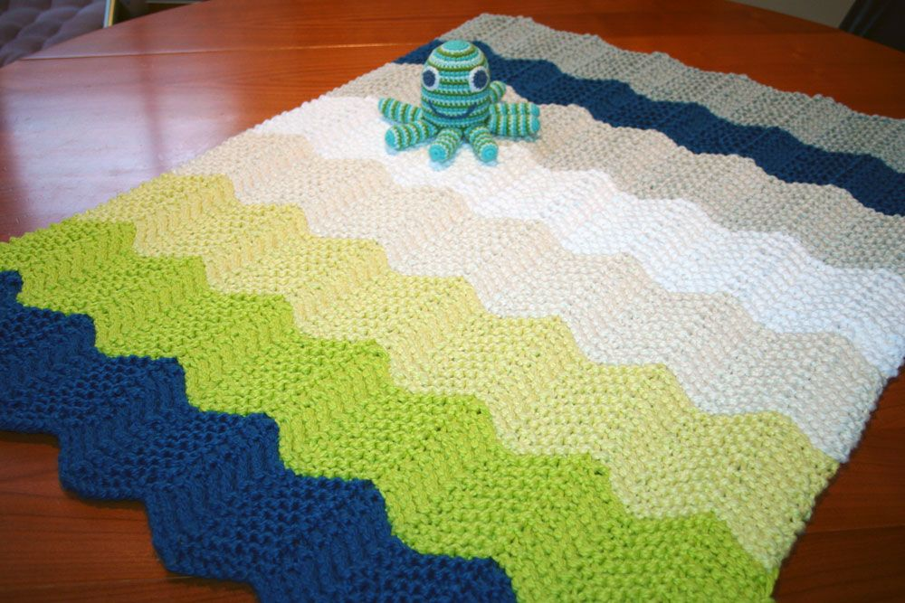 Austin\'s Chevron Baby Blanket - it knitted up so quickly, and the ...