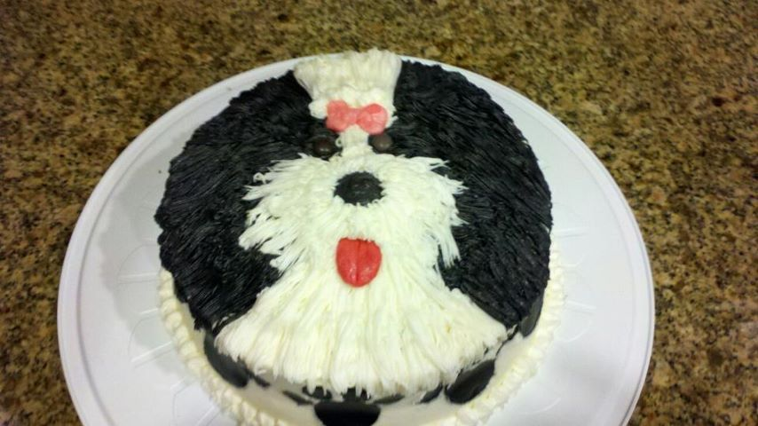 This is a cake I made that looks like my Shih Tzu Daisy. www.facebook.com/day.dream.cupcakes