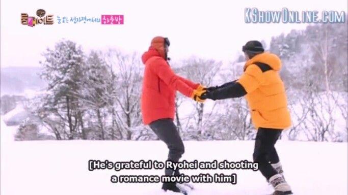 New love team.. hahaha!!! Lol #ryohei #dongwook #sbsroommate #roommates2