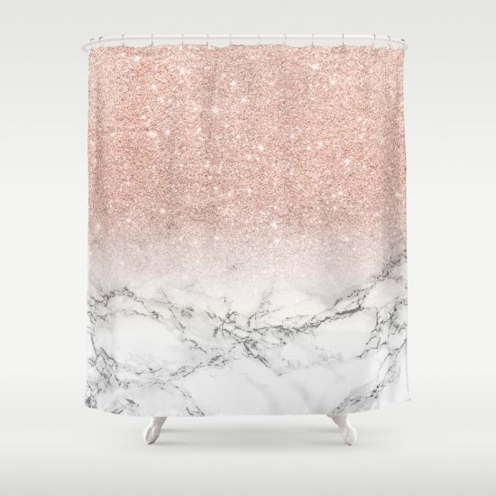 Modern Faux Rose Pink Glitter Ombre White Marble Shower Curtain By Girly Trend