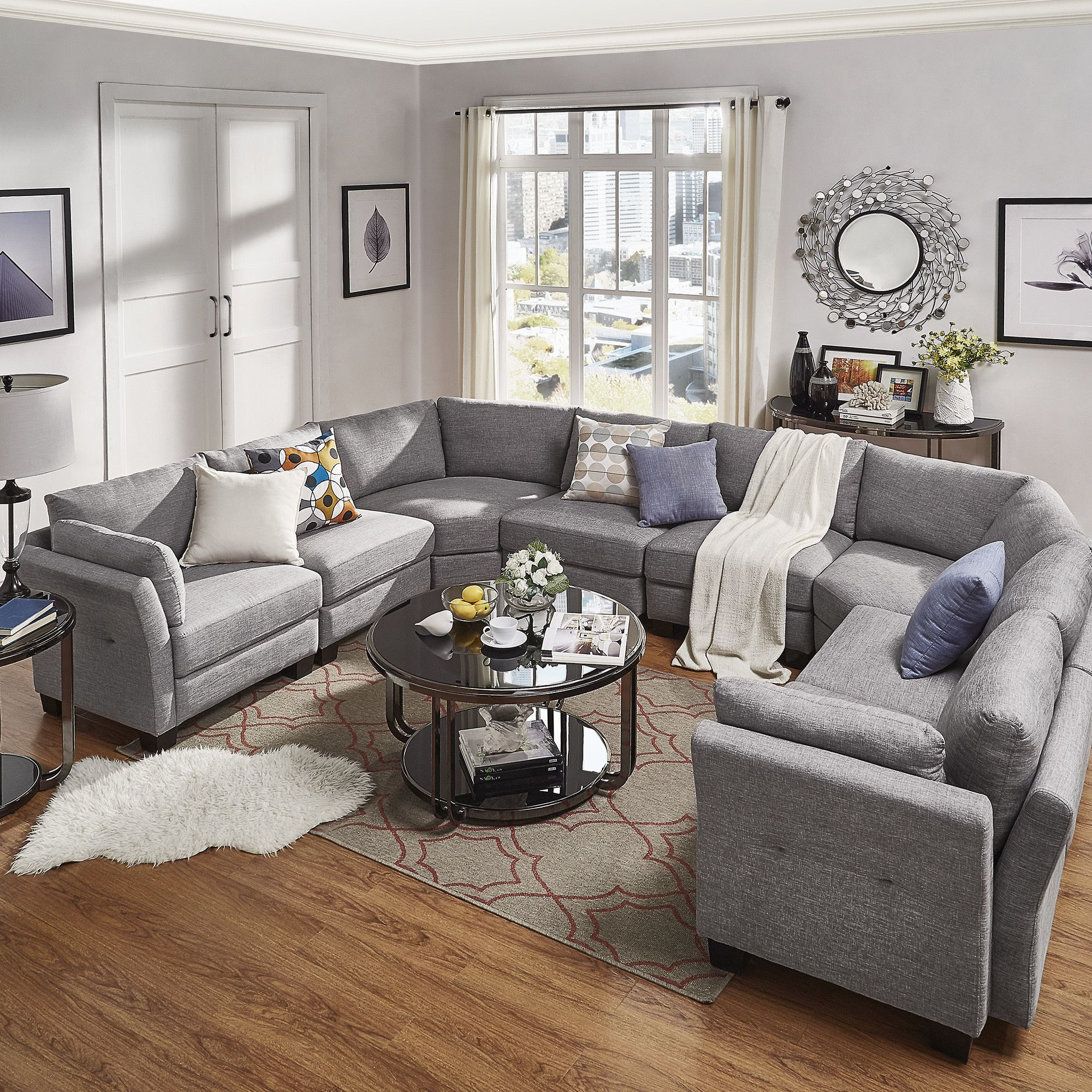 Chic Elegance Of Neutral Colors For The Living Room 10 Amazing Examples: Mercury Row Alkmene Sectional & Reviews