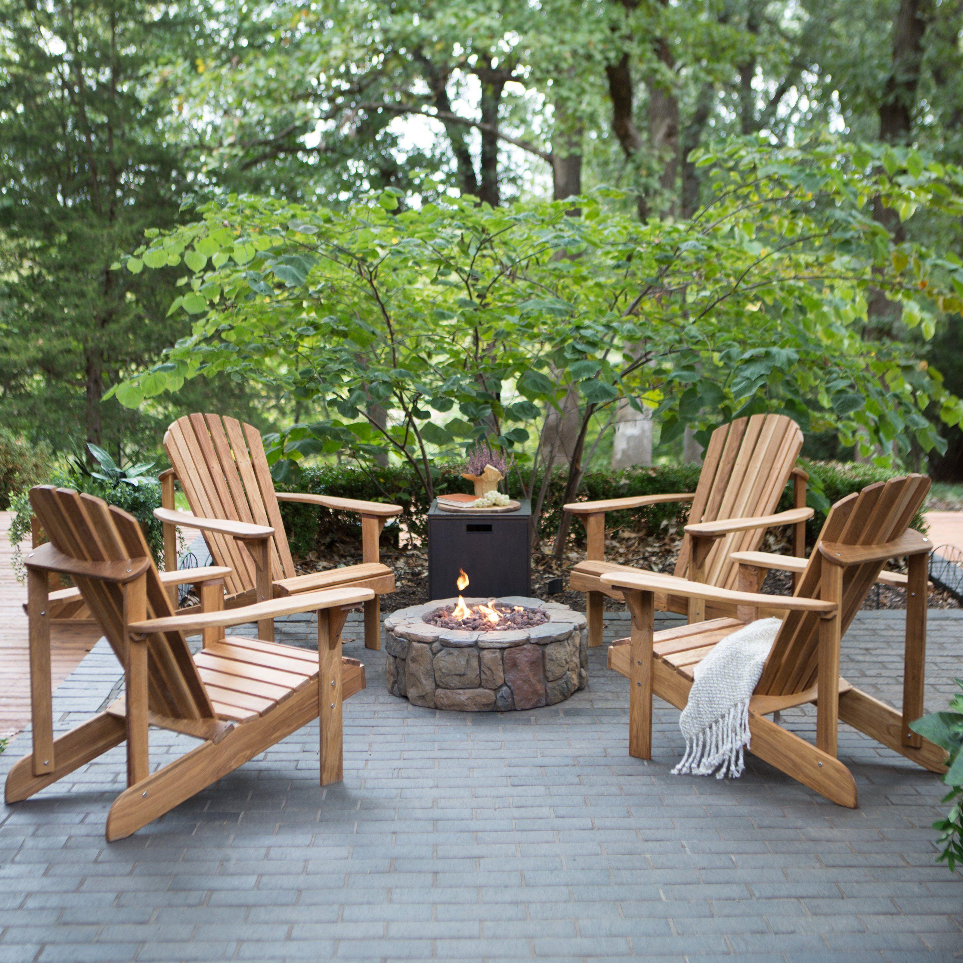 Belham Living Hampton Deluxe Oak Adirondack Fire Pit Chat Set