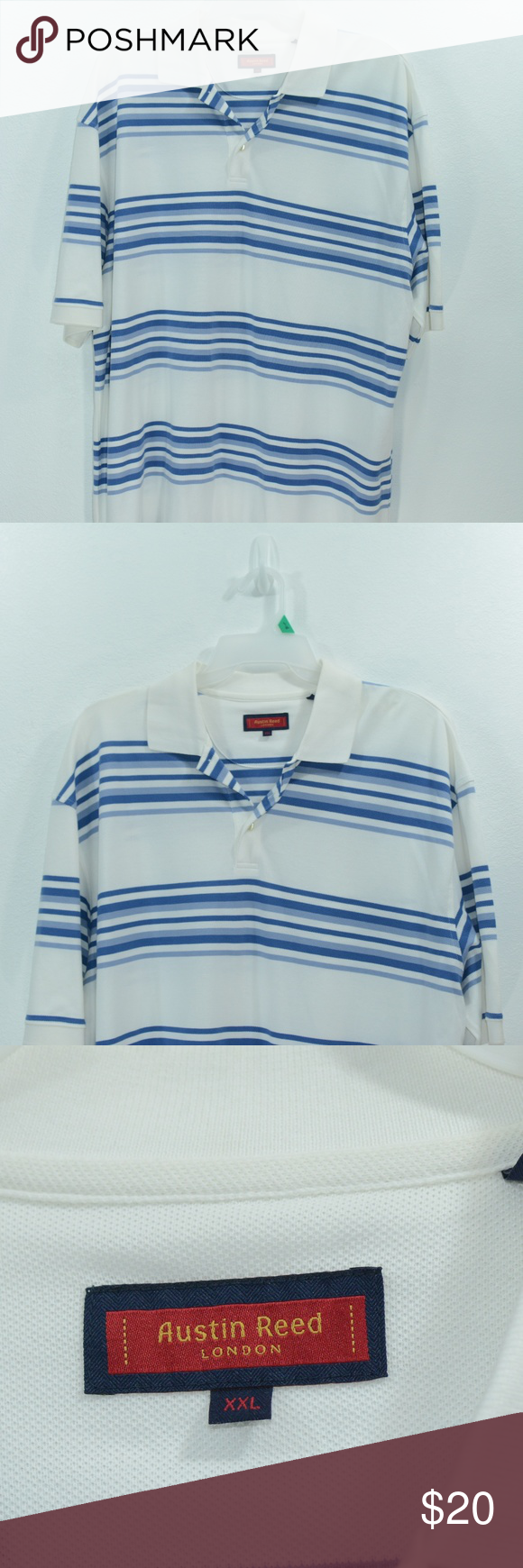 Austin Reed London Mens Polo Shirt White Blue Xxl Nwt 100 Cotton Approximate Measurements Waist 28 Inches Polo Shirt White Shirts White Men S Polo Shirt