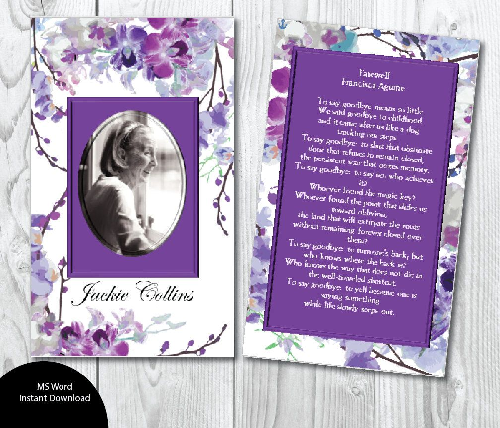 Printable Funeral Prayer Card 3x5 And 2 5 X 3 5 Wallet Etsy Funeral Prayers Prayer Cards Photo Thank You Cards
