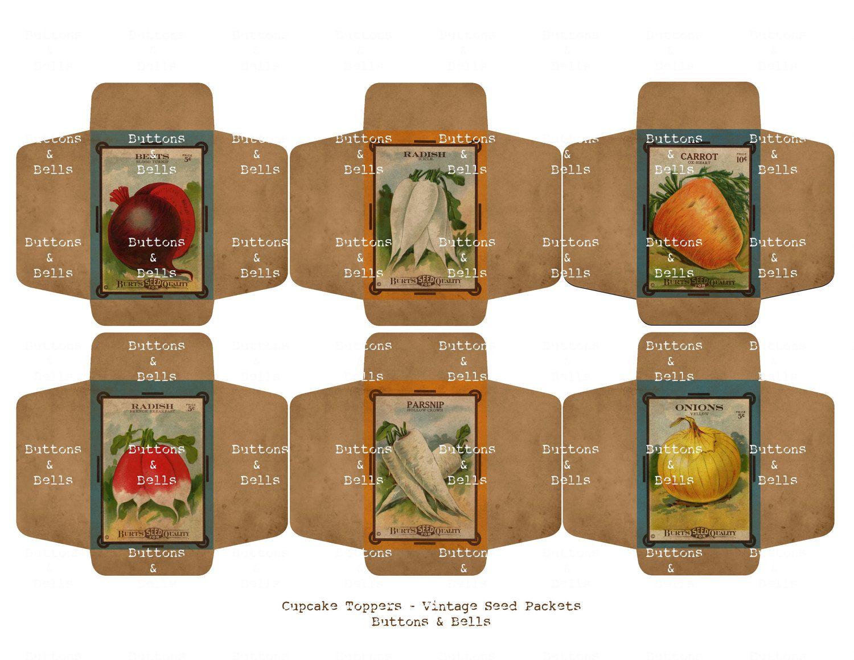 Vintage Cupcake TopperPartyPrintableVintage Seed Packets