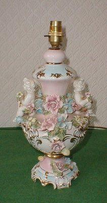 Antique Lamp Porcelain Capodimonte Cherubs Flowers Stunning Ornate