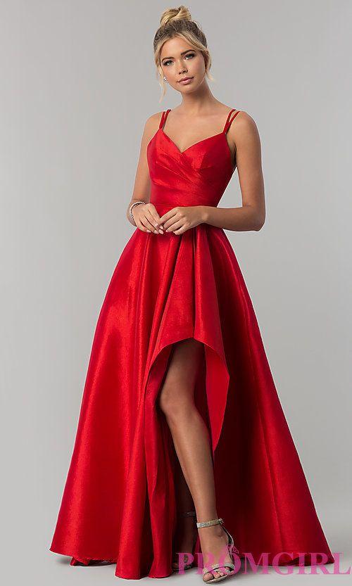 Long Alyce High-Low Taffeta Prom Dress with Slit |