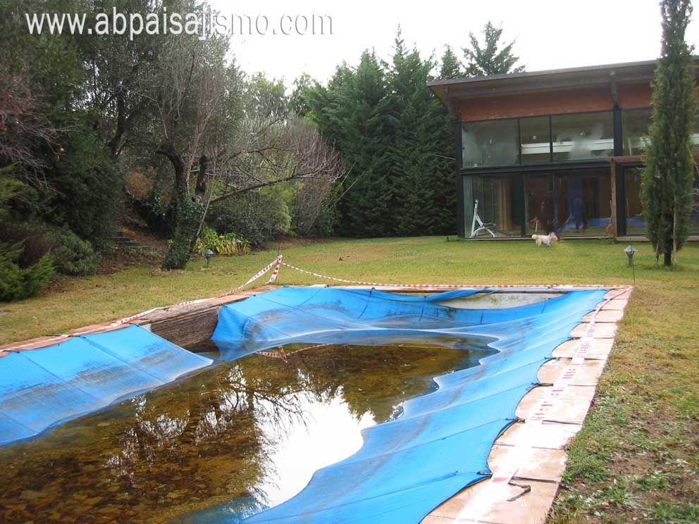 Sobre una antigua piscina se construye un gran estanque - Estanques de agua ...