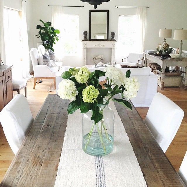 A Fresh Neutral Living Country Look With White Accessories If You Like This Pin Dining Room Table Runner