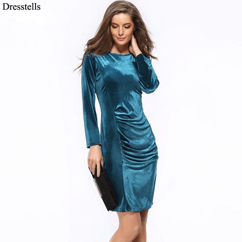 Top sexy scoop langen ärmeln plissiert samt dress cocktail dress ...