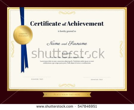 Elegant certificate of achievement template with blue ribbon and - certificate of completion of training template