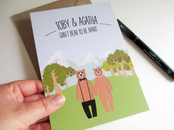 30x Hipster Bear In The Woods Wedding Invitations Double Sided