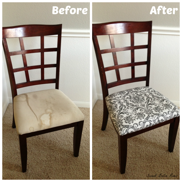 dining room makeover before after - Reupholstered Dining Room Chairs