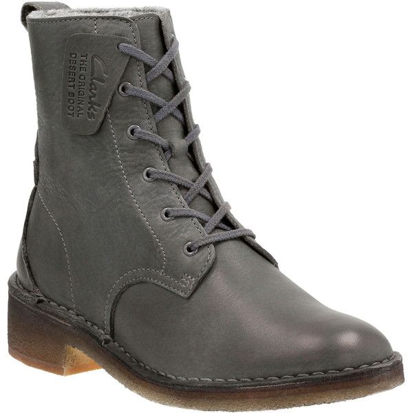 Clarks Women's Maru Elsa Boots (€145) ❤ liked on Polyvore featuring shoes, boots, charcoal leather, laced up boots, combat boots, lace up boots, lacing combat boots and military lace up boots