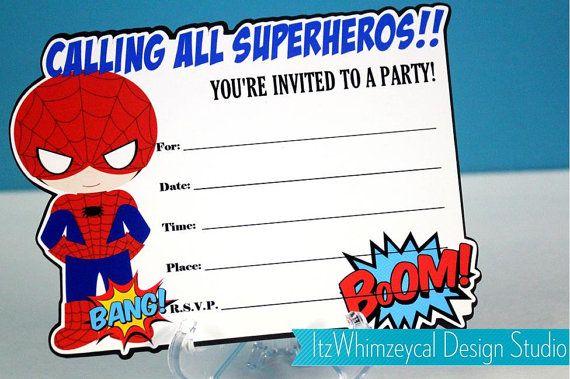blank superhero birthday invitations
