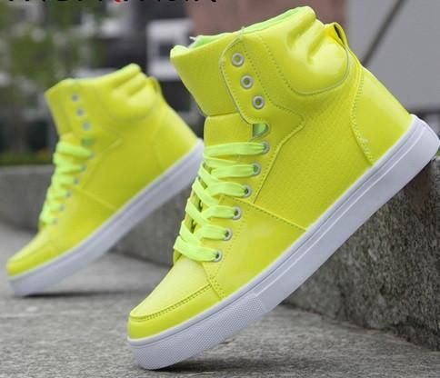 2851c2516988b New gucci men s 322730 neon yellow hi high top leather sneakers shoes~ 13  13.5