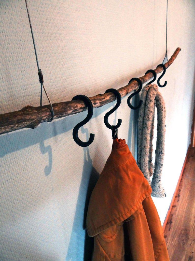 Photo of Coat hanger set – hanging clothing rack – forged iron steel – handmade home decor – hallway hooks -clothing coat storage – nature decor hall