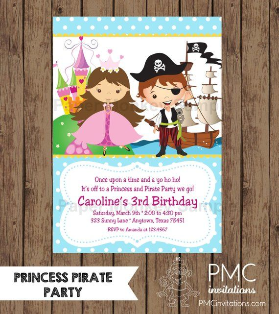 Custom Printed Princess And Pirate Birthday Invitations