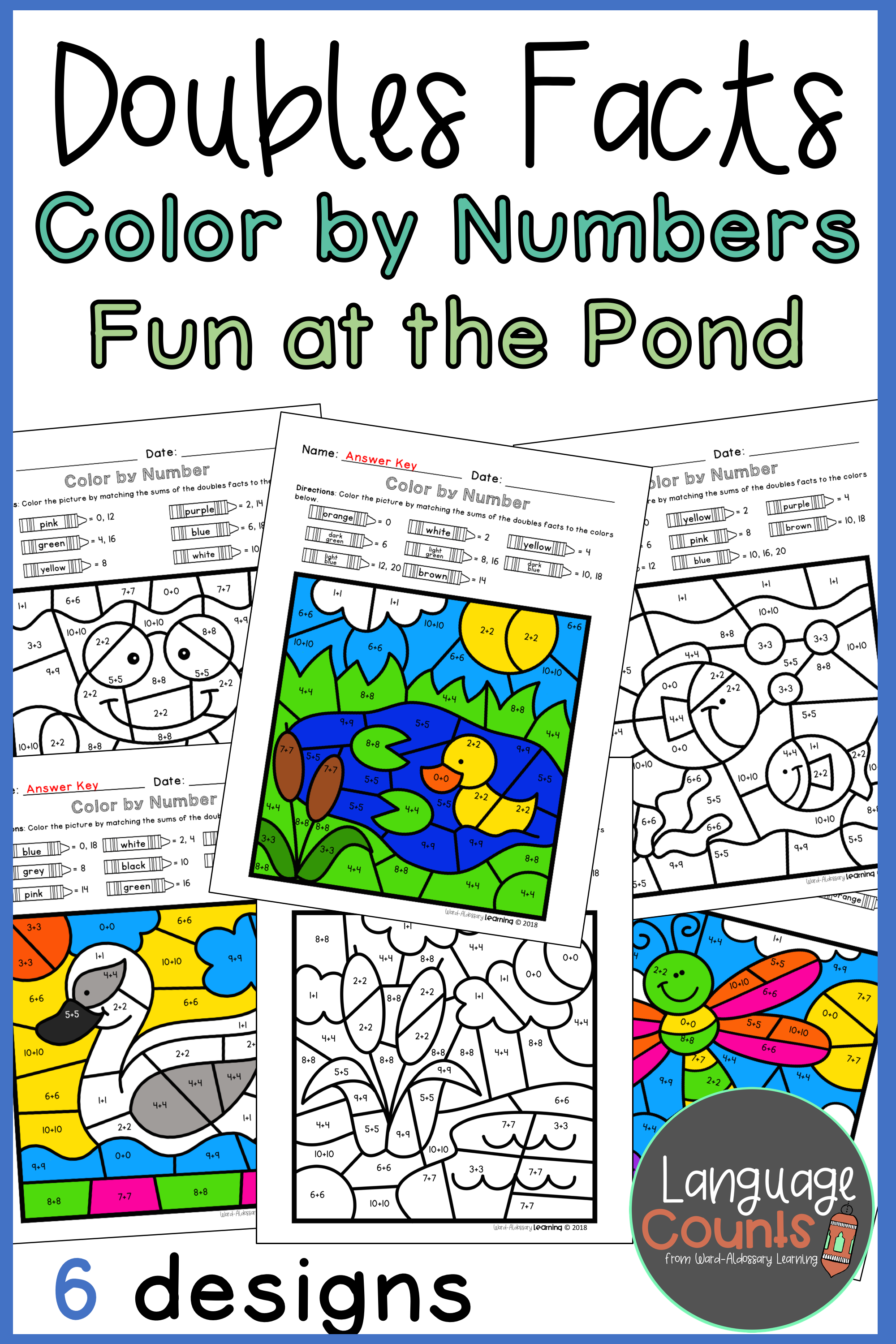 Doubles Facts To 20 Color By Number Pond Themed