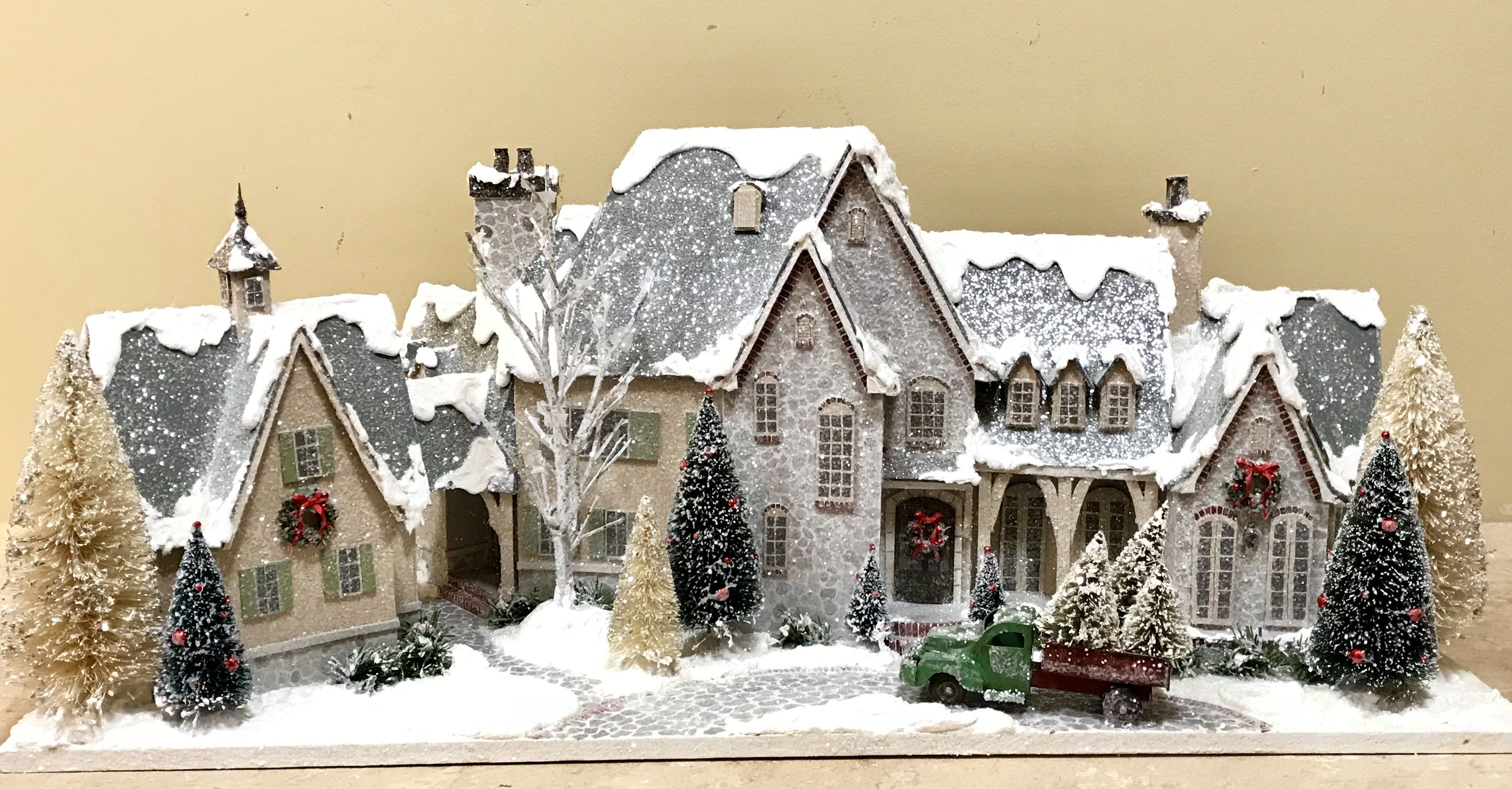 The Miles House Christmas Glitter Houses By Tracey Pfeiffer Christmas Village Houses Glitter Houses Christmas Village Display