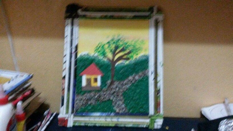 Cuadro hecho con carton piedras y la hoja de la palmera africana y papel mache mis trabajos en - Cuadros hechos con piedras ...