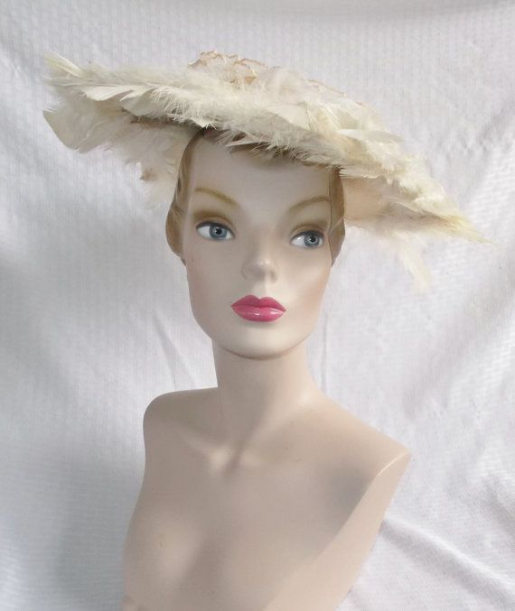 1950s Vintage Off White Feathered Wide Brim by MyVintageHatShop