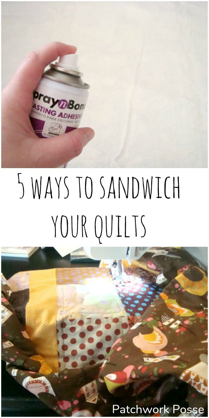 5 ways to sandwich quilts so they don't get bubbles- Great suggestions and a reminder to always pin before quilting! #quilting #quiltingproject #machinequilting #howtoquilt #patchworkposse