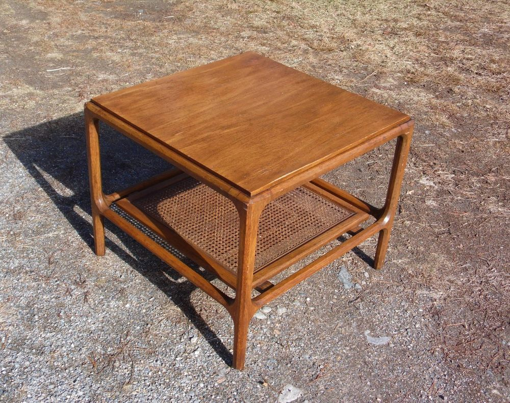 Vintage Mid Century Modern 2 Tier Walnut Cane Shelf End