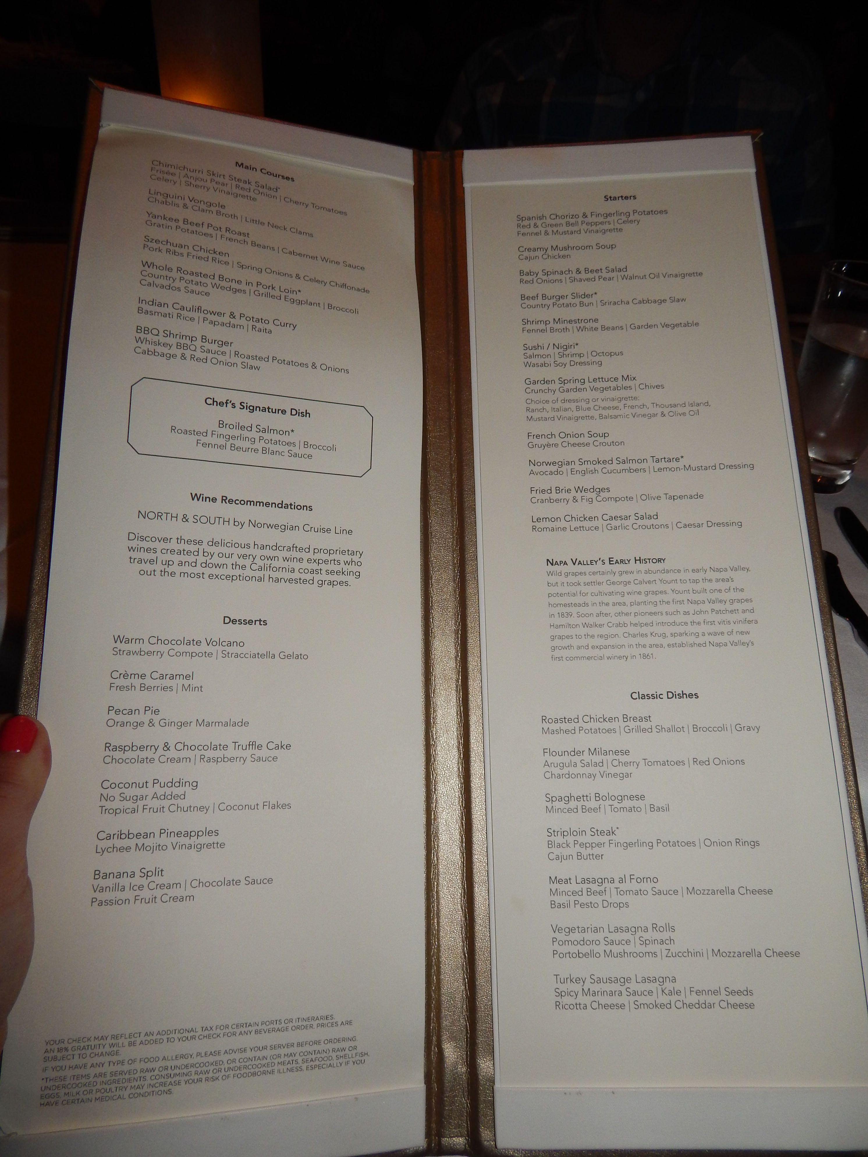 Norwegian Getaway Main Dining Room Tropicana Menu Day 2