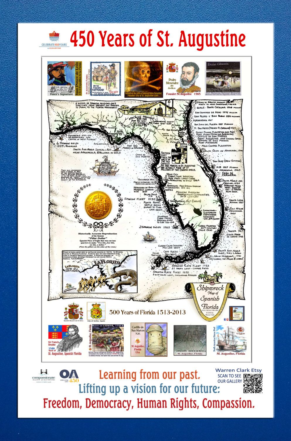 450 Poster Shipwreck Map of Spanish Florida with Icons by