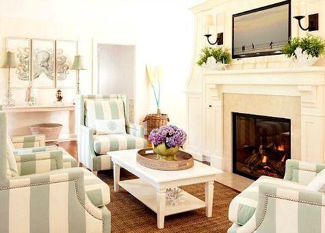Small Beach Living Room In Seafoam U0026 White