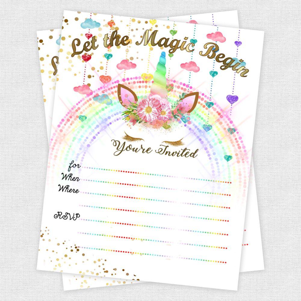 Unicorn Invitations Girl Birthday Slumber Party Girls Decoration Gold Invites 20