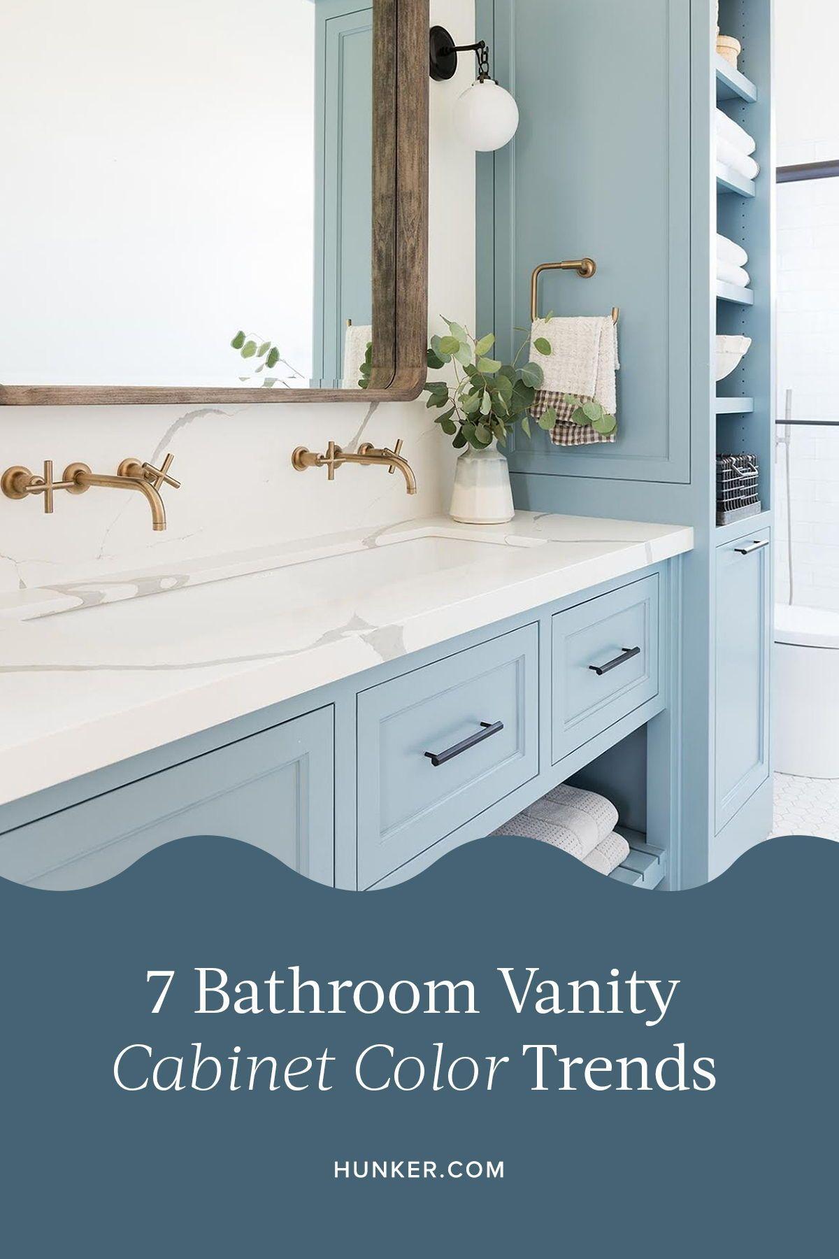 7 Bathroom Vanity Cabinet Colors You Ll See Everywhere In 2020 Hunker Bathroom Vanity Cabinets Cabinet Colors Bathroom Cabinet Colors