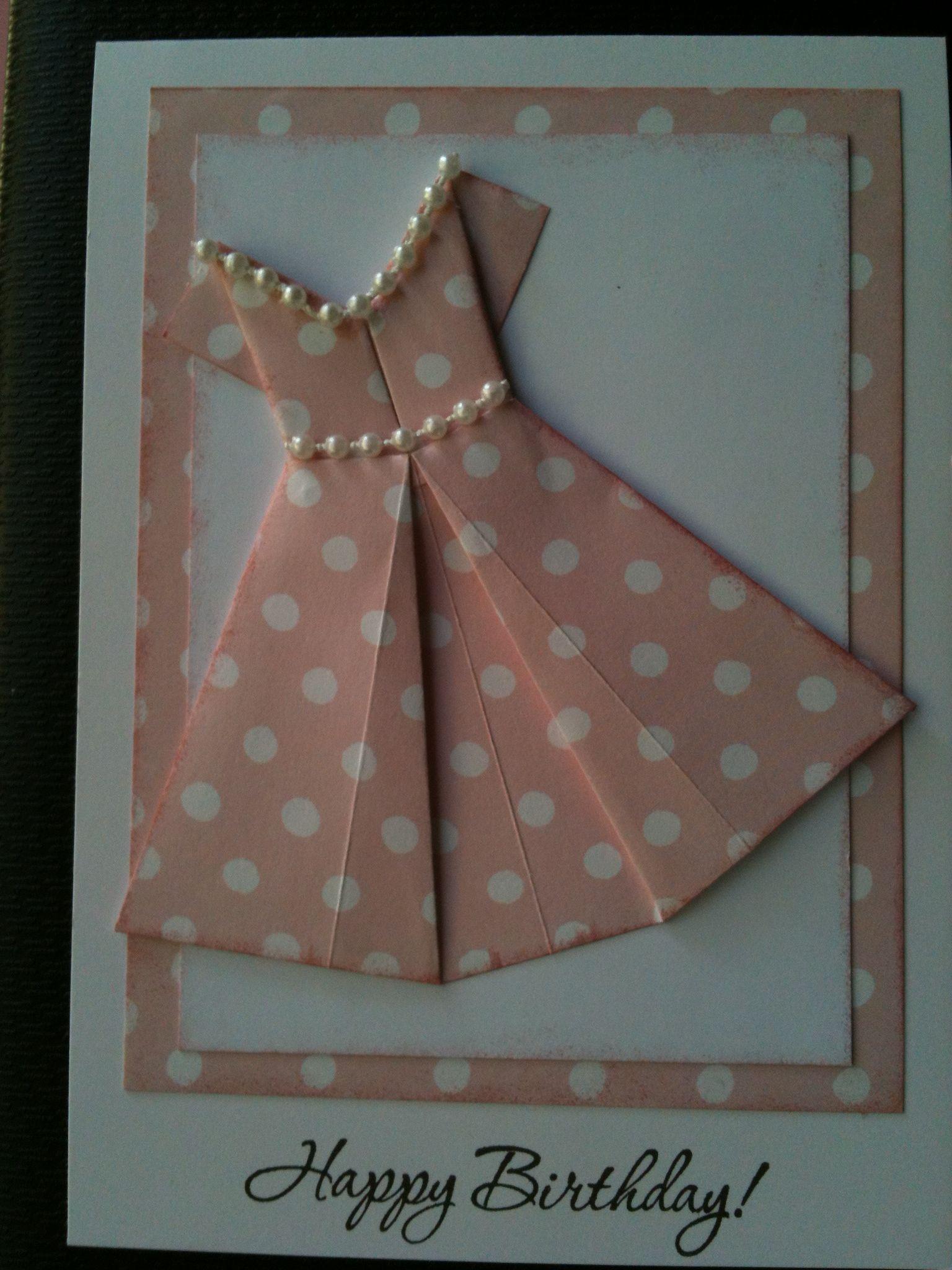 Оригами из бумаги открытка с платьем