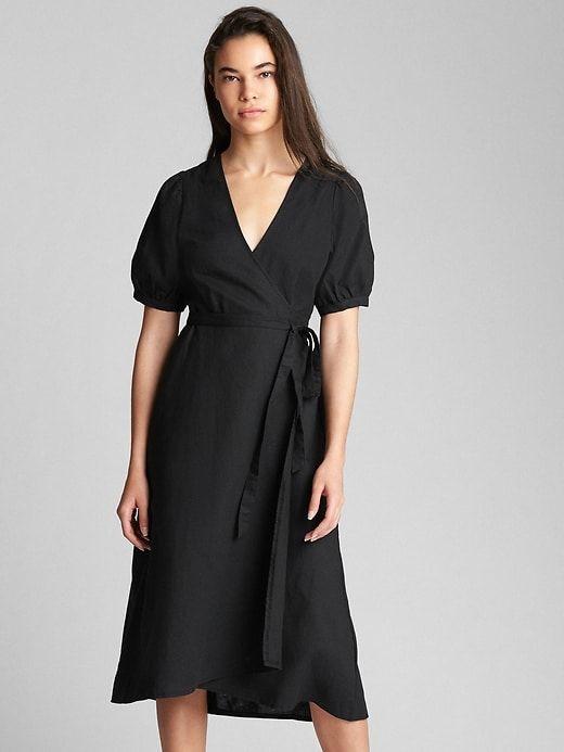 824808d1143 Gap Womens Wrap Midi Dress In Linen-Cotton True Black