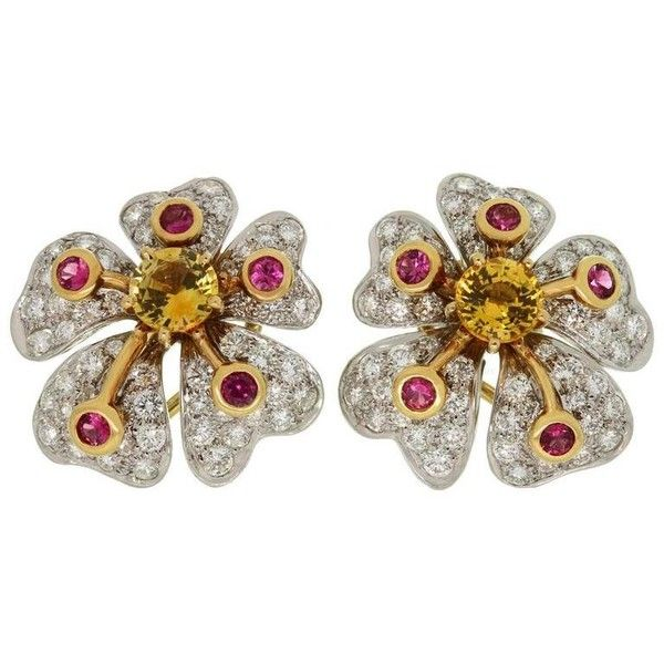 Preowned Tiffany & Co. Anemone Flower Pink Yellow Sapphire Diamond... (£11,675) ❤ liked on Polyvore featuring jewelry, earrings, yellow, platinum earrings, yellow sapphire earrings, 18k diamond earrings, pink diamond jewelry and diamond earrings