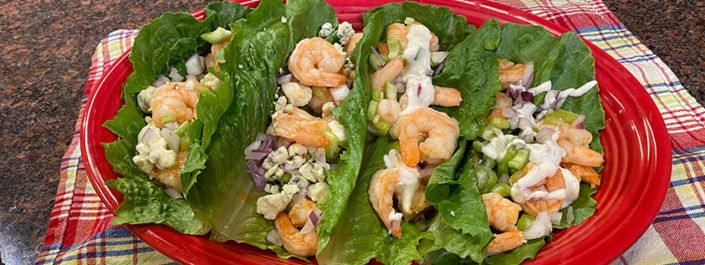 Buffalo Shrimp Lettuce Wraps