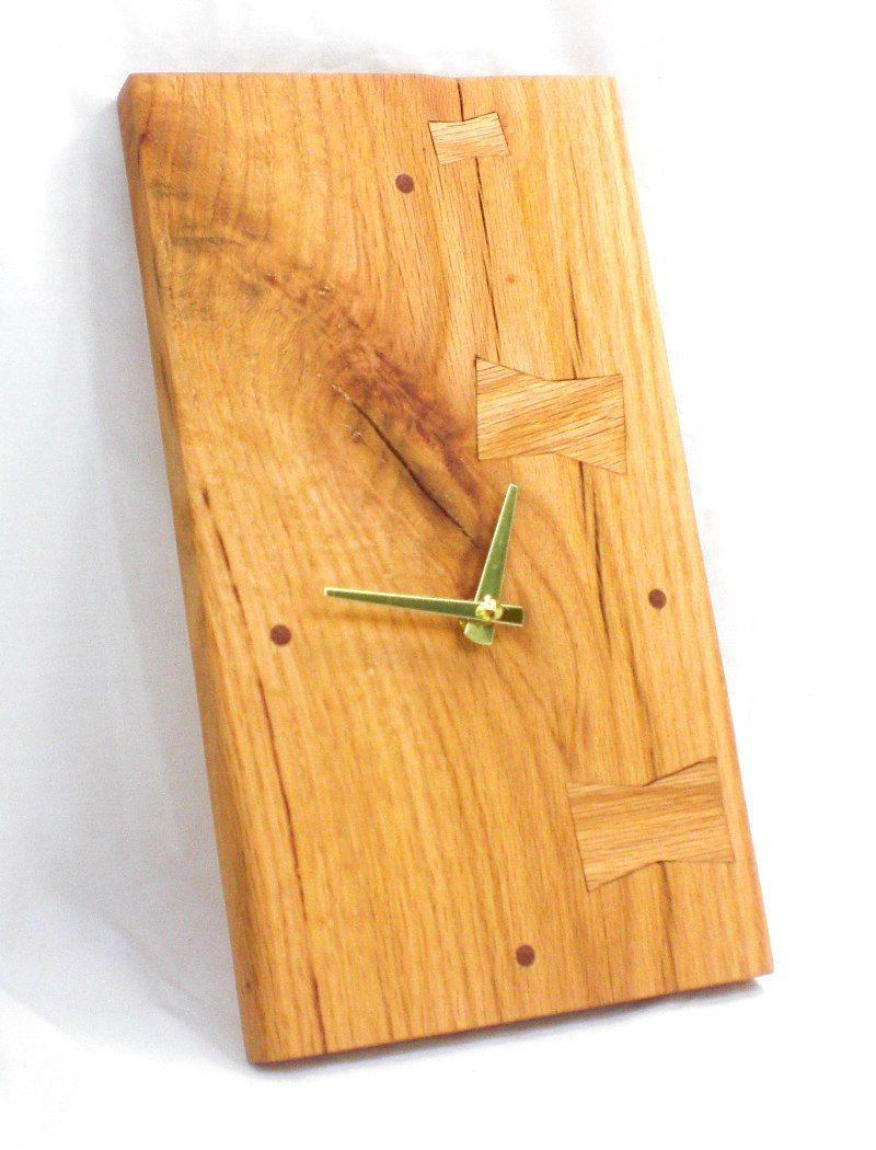 Items Similar To Rectangular Wood Wall Clock Split Red Oak Clock Cottage Chic Clock Natural Clock On Etsy Wood Wall Clock Wall Clock Clock