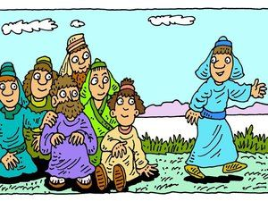 12++ Jesus cooks breakfast on the beach coloring page free download