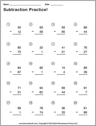 Double Digit Subtraction Worksheets For Students And Teachers Kindergarten Subtraction Worksheets Touch Math Worksheets Kindergarten Addition Worksheets