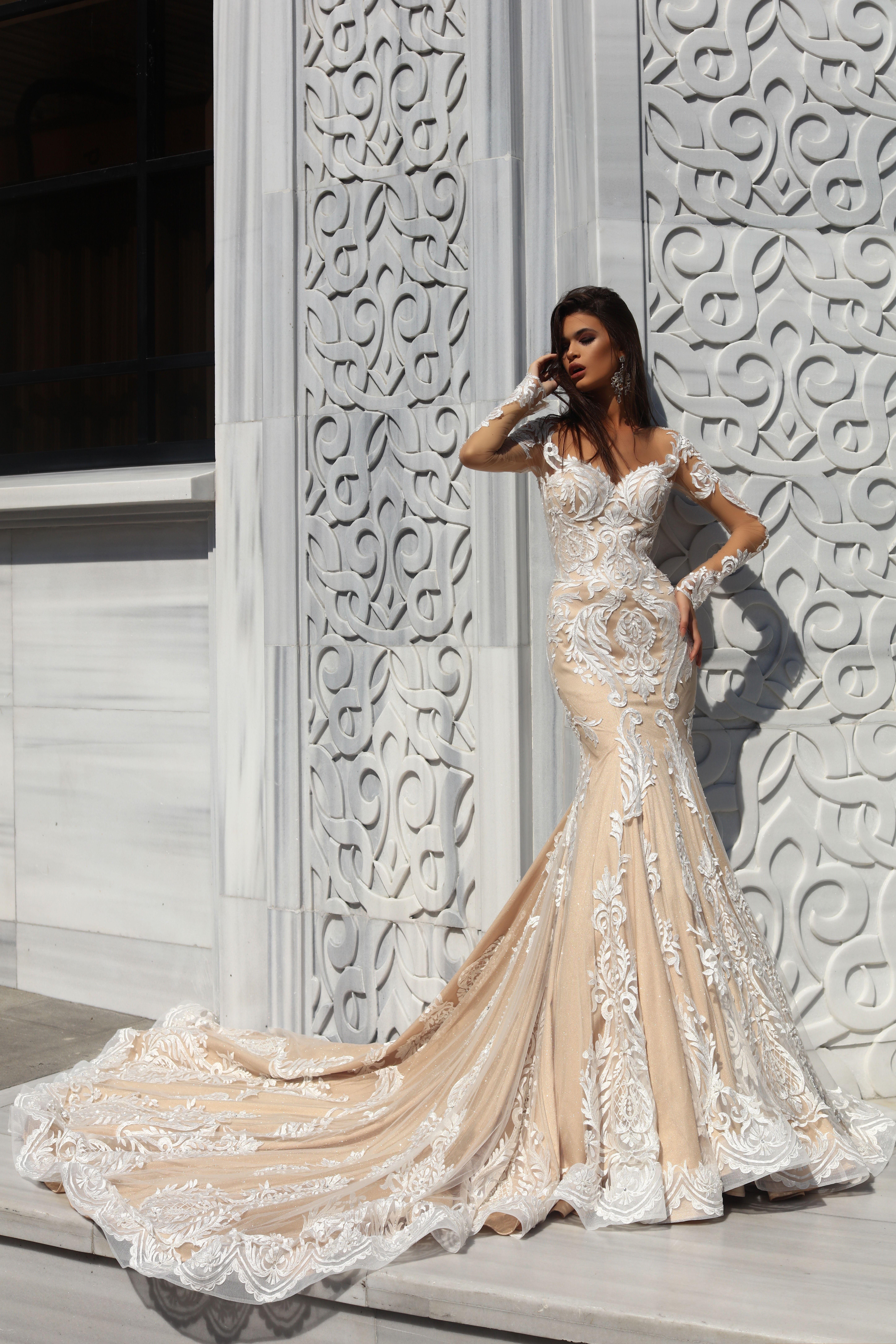 Lace Sleeved Mermaid Ballgown Wedding Dresses Wedding Gowns Lace Wedding Gowns With Sleeves