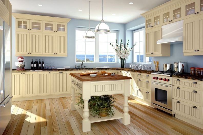 Cape Cod Kitchen Design Ideas. kitchens painted in soft yellow  Cornerstone Kitchens Maple Canyon Creek