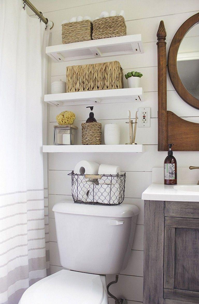 70 Fefreshing And Cool Powder Room Design Decoration Ideas Bathroom Organization Diy Small Bathroom Decor Bathroom Shelf Decor