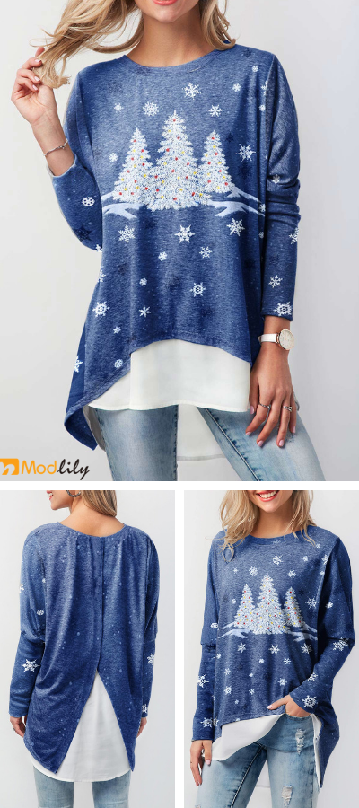 e538a8382e1 Christmas Long Sleeve Printed T Shirt. Special festival needs special  clothes. Wearing this special T shirt to enjoy your T shirt.