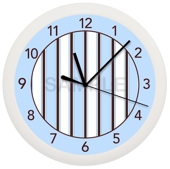 Blue brown and White Stripes Wall Clock Nursery Childrens Bedroom