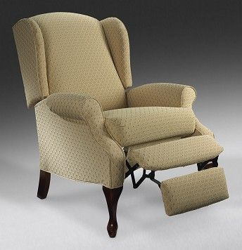 Hampton upholstery high leg wing back recliner leon 39 s - High back wing chairs for living room ...
