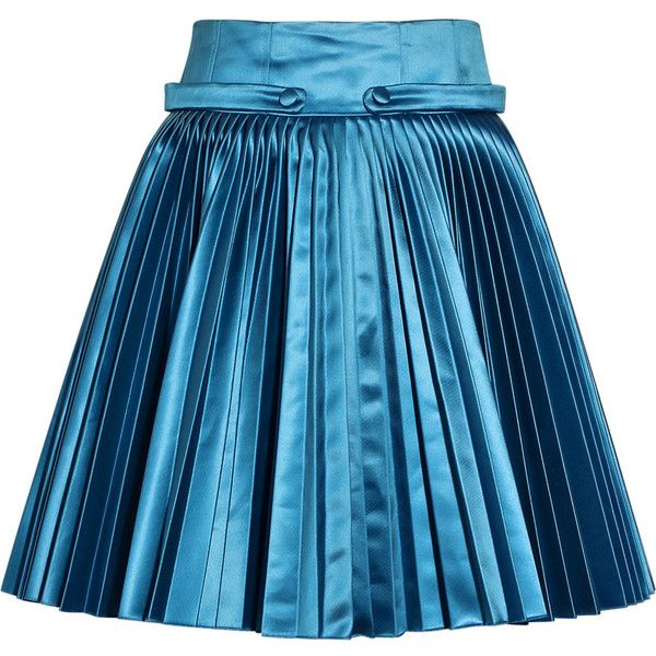 Versus Pleated satin skirt ❤ liked on Polyvore featuring skirts ...