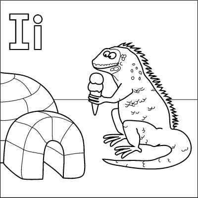 Letter I coloring page (Igloo, Iquana, Icecream) from http://www ...