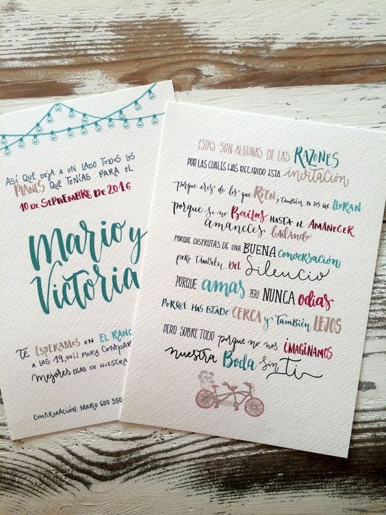Invitación de boda  «buenas razones»
